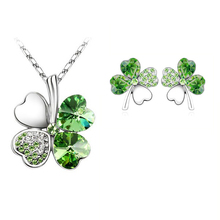 free shipping gifts Austrian Crystal Clover 4 four Leaf 18K White Gold Plate green crystsal Necklace Earrings Jewelry Sets 9554