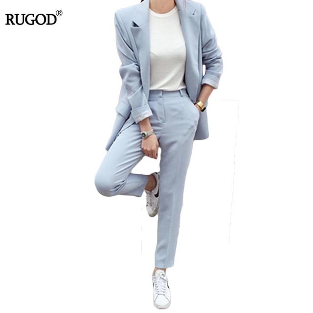 $ US $32.99 RUGOD New Blazers Suit Solid Simple Women Pants Suits 2 Two Piece Sets Long Slim Jacket & Pants Female High quality Lady Suit