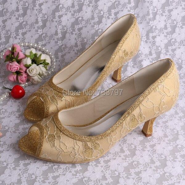 ФОТО Wedopus Custom Handmade Sparkly Gold Lace Wedding Shoes Peep Toe High Heels Dropship