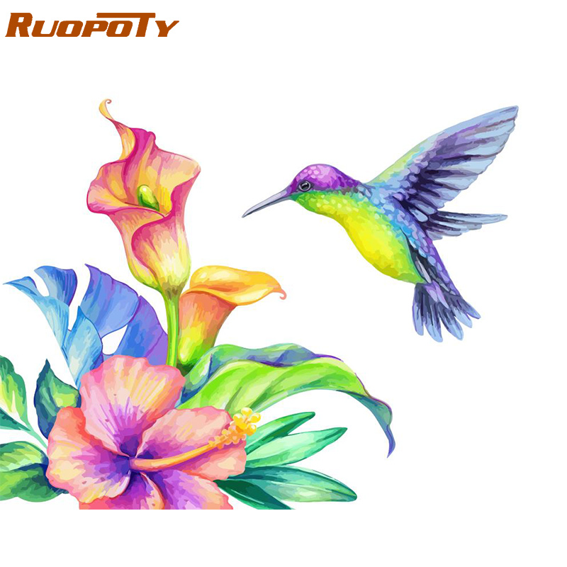 RUOPOTY Frame Birds Flowers DIY Painting By Numbers Acrylic Coloring By Numbers Kit Modern Home Wall Art Picture For Unique Gift