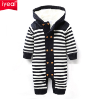 IYEAL Newborn Autumn Baby Rompers Thickened Winter Striped Hooded Knitted Sweater Warm Overalls Fleece Coat for Baby Girl Boy