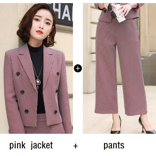 1360fe349d5 ACRMRAC Women suits new autumn Slim Short jacket Wide leg pants Suit pants  OL Formal Women pants suits Womens business suits-in Pant Suits from Women s  ...