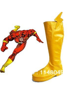 The Flash Superhero Boots Yellow Cosplay Boots
