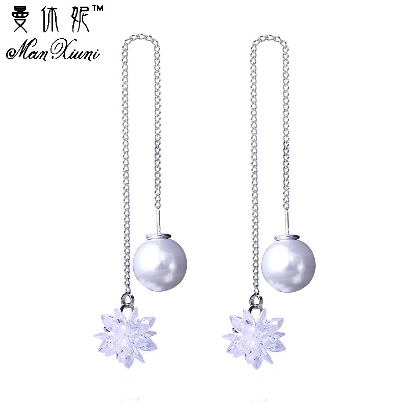 Hanging Earrings For Women Ice Flower CZ Earring with Stone boucles d'oreilles Drop Snowflake Earrings Long Women Jewelry