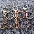 Harry Potter Llavero-Harry Potter Luna Llavero Colgante Reliquias de la muerte Triángulo Redondo Retro Llavero Del Encanto Del Bolso Colgante