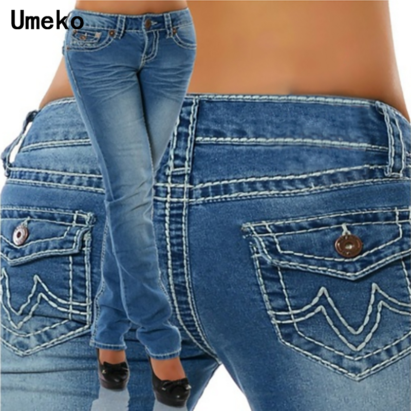 Umeko 2019 Plus Size Skinny Pockets Denim Ladies Pencil High Waist Black Jeans Women