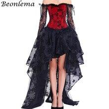 BEONLEMA طويلة الأكمام الدانتيل Korset مثير الأسود القوطية فستان الساخن الأحمر بوستير مجموعة Steampunk مشد ملابس النساء مشد حجم كبير