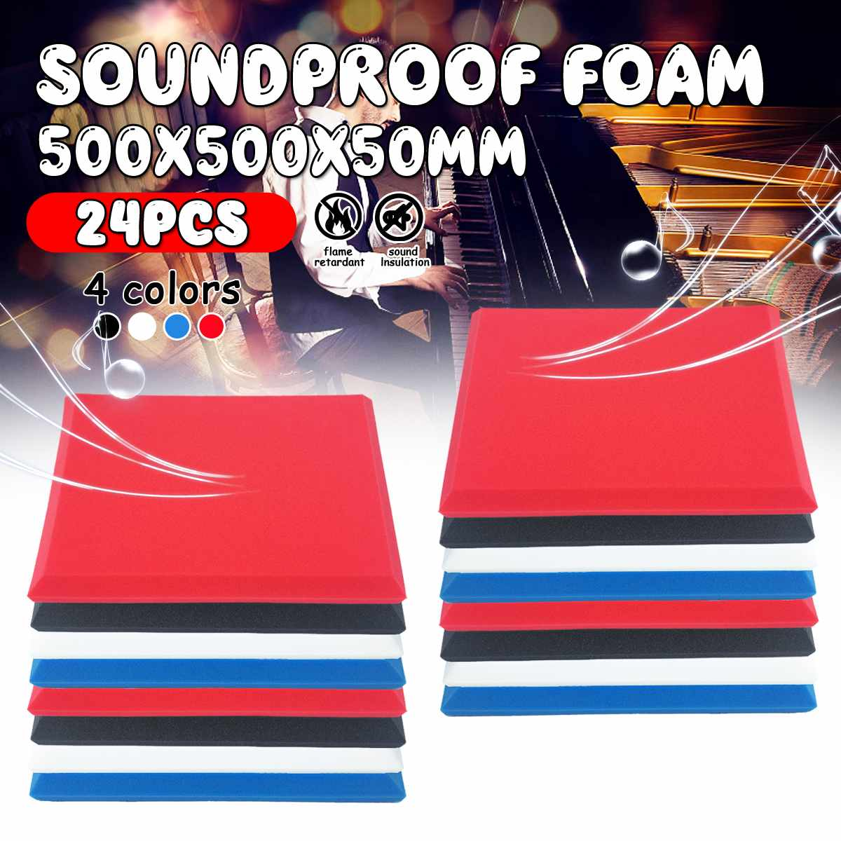 24PCs 50x50x5cm Studio Acoustic Soundproof Foam Sound Absorption Treatment Panel Tile Wedge Protective Sponge 4 Colors