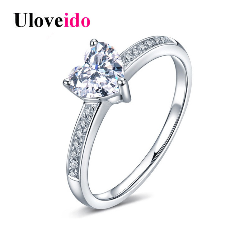 Uloveido Rings for Women Wedding Jewelry Heart Ring Female 925 Sterling Silver Jewellery Cubic Zirconia with Box 40% Off LJ079