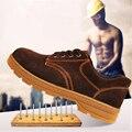 Camurça-Outono Inverno Dos Homens de Couro Martin Botas Botas de Biqueira de Aço Anti-Perfuração Respirável Sapatos de Segurança do Trabalho