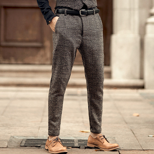 Image 2 - Pantalon pour hommes, nouveau pantalon à carreaux, gris, en laine, slim, long, extensible, style italien, design de marque à la mode, décontracté