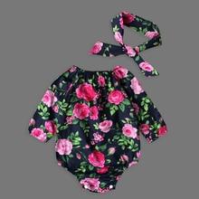 Recién Nacidos bebés boutique vintage floral romper jumpsuit niñas Bloomer Ruffle mameluco ropa de niños a juego diademas
