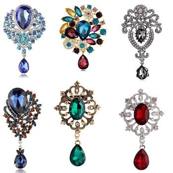 Luxury  Wedding Austria Crystal lapel Pin Brooches with rhinestone waterdrop pendant jewelry
