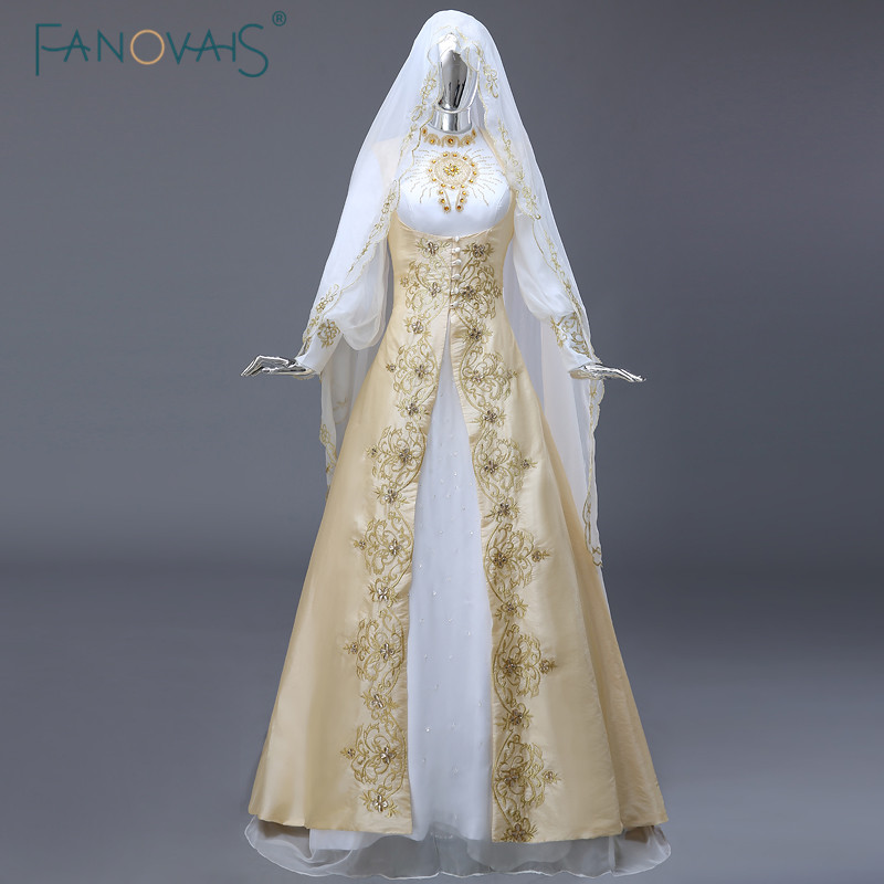 Taline White&Gold Long Sleeve Crystal Beaded Embroidery Muslim Bridal Wedding Dresses Sweep Train Vestido De Festa Longo ASWD113