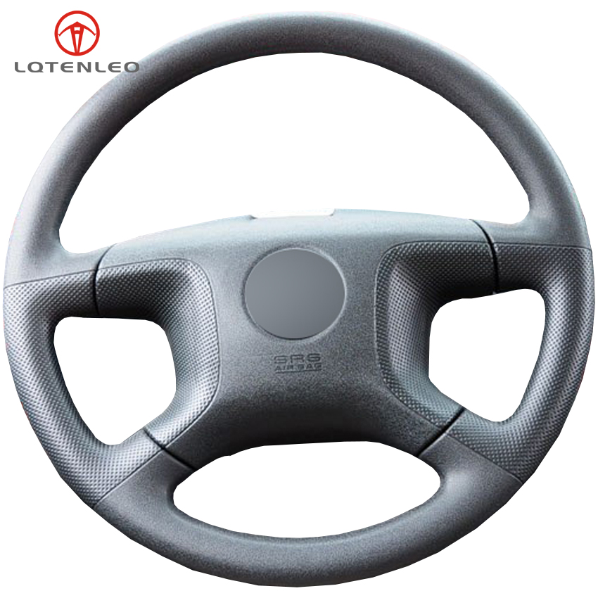 LQTENLEO Black Genuine Leather DIY Hand stitched Car Steering Wheel Cover For Mitsubishi old Pajero Pajero