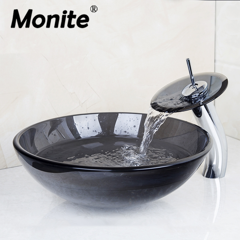 US Black Round Washbasin Lavatory Tempered Glass Sink +Waterfall Glass Basin Faucet 4074-1 Combine Brass Faucet,Mixer Tap