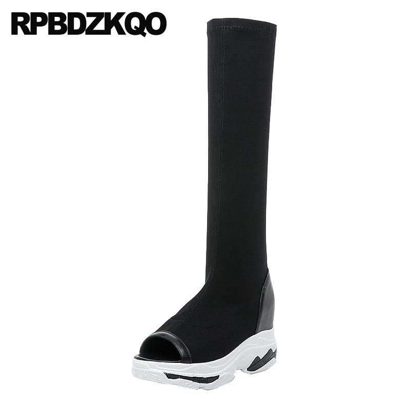 цена boots platform luxury brand shoes women slip on peep toe slim stretch summer knee high black wedge sandals long casual heel new
