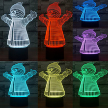 2017 3D Novel LED Lovely Snowman Decor Night Light Atmosphere 7 Colors Gradient USB Lamp joyful Kids toy Christmas New Year gift