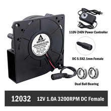 Gdstime 120mm Blower Fan 120x120x32mm 12cm 12V DC Female 5.5x2.1mm Blower Fan 110V 120V 220V 240V Speed/Power Controller 220v 110v sl 801d nxl g benchtop simco ionizing air blower static elimination fan dc ionizing blower air ionizer
