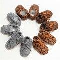 2017 de Invierno Nuevos bolsos de cuero Diseñador Bebé Mocasines lace up botas botas Del grano Del Leopardo niño inferior Suave Zapatos del Pesebre del recién nacido