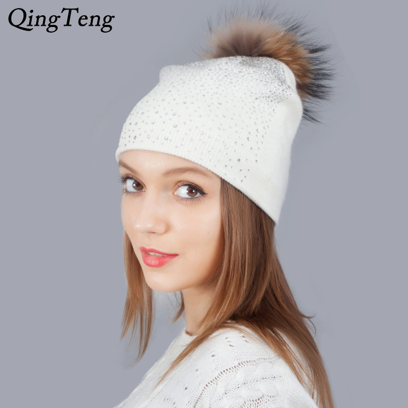 Shining Rhinestone Hats For Women Warm Winter Cashmere Knitting   Beanie   Fox Pom Pom Female Caps   Skullies     Beanies   New Year Gift