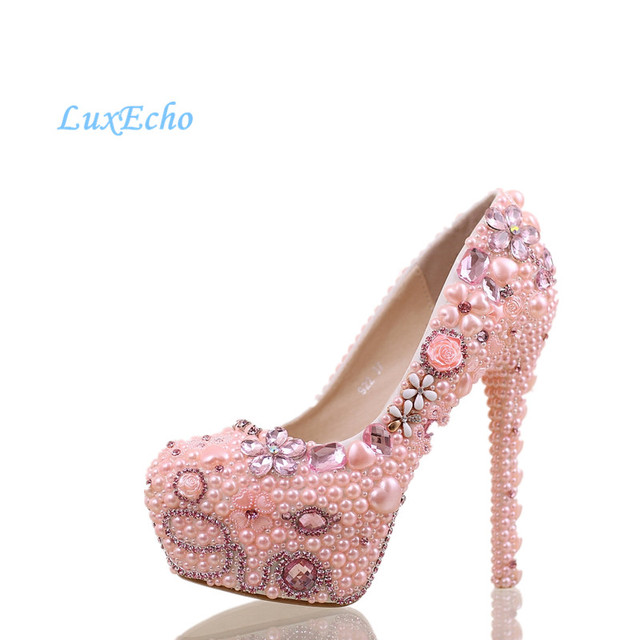 New sweet pink diamond wedding shoe ultra high with platform shoe ...