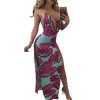 2017 new fashion summer women dress sexy deep V-neck floral print harness backless open fork floor length dress HD068