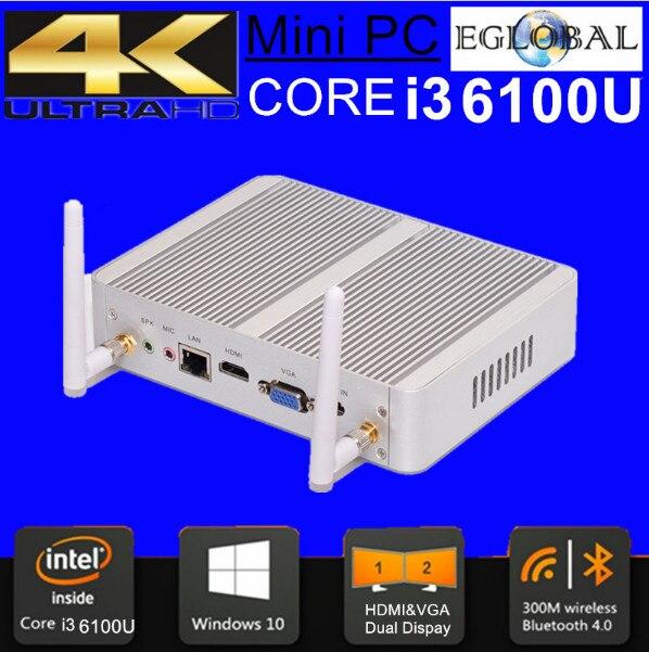 6 Gen Mini PC Windows 10 Intel Nuc Pc Barebone Computer Intel Core I3 6100U 2GHz HD 520/5500 Graphics 4K HTPC Wifi HDMI VGA