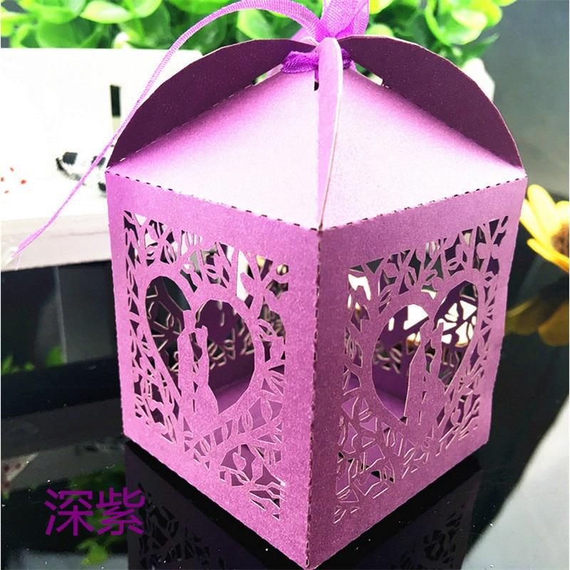 Gift Box Wedding Invitations: 50Pcs Laser Cut Gift Box Loving Couple Wedding Invitations