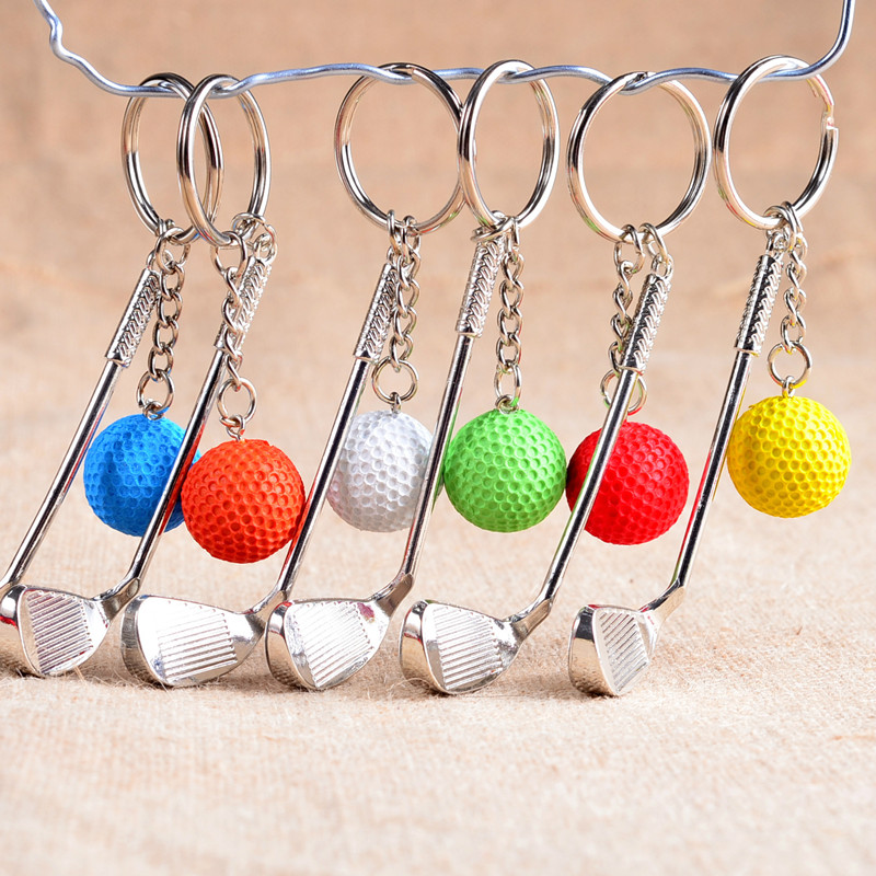 Multi-Colors Alloy Golf Shaped Keychain Sport Style Fashion Key Chains For Women Men Decor Car Key Bags Crafts Gift