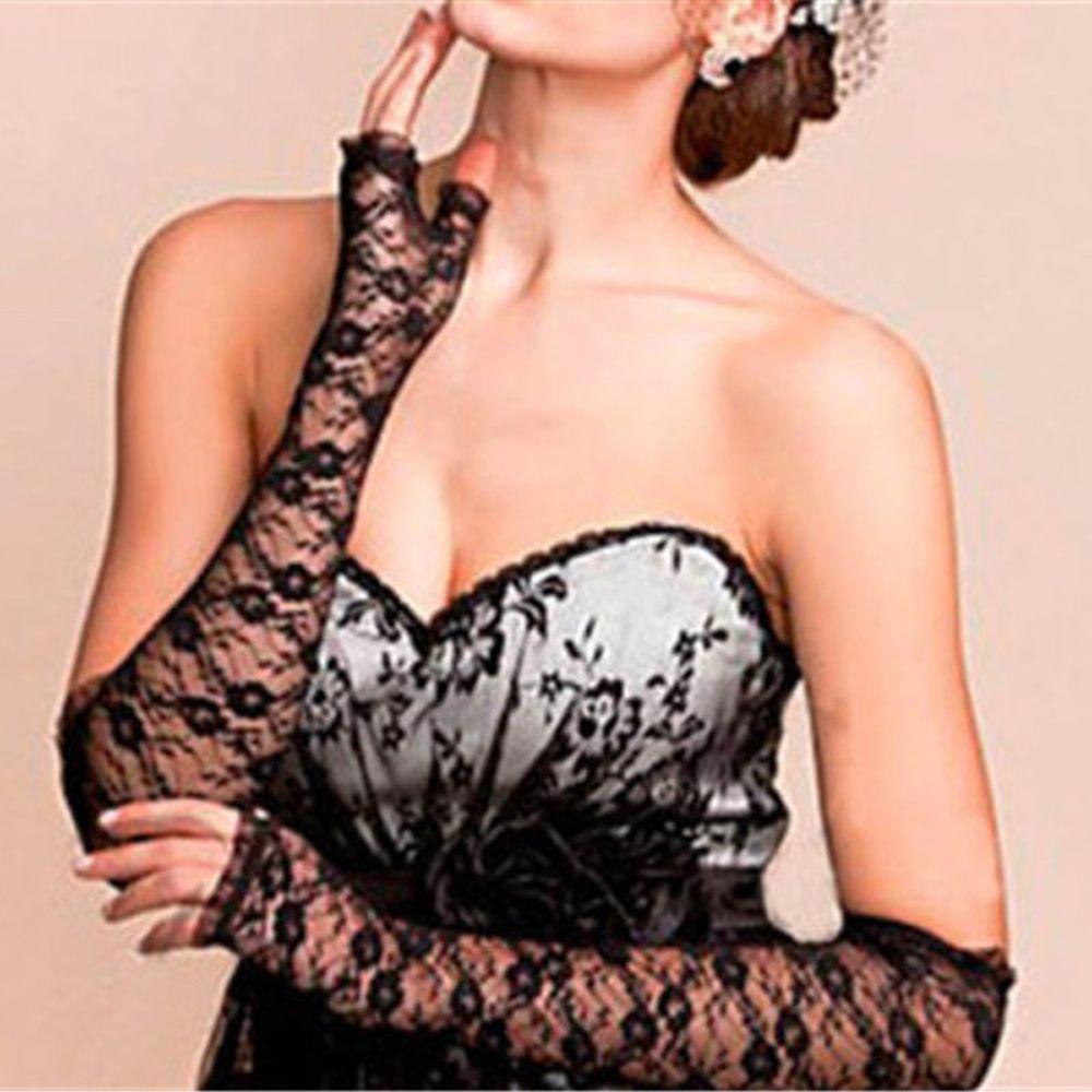 1 Para Heißer Verkauf Frauen Braut Lange Spitze Arm Elbow Handschuhe Spitze Sexy Fingerlose Hochzeit Handschuh Manchette Solaire Auswahlmaterialien
