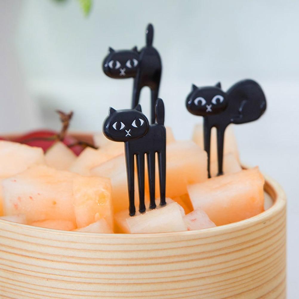 6pcs Mini Animal Fork Fruit Picks Black Color Cute Cartoon Cat