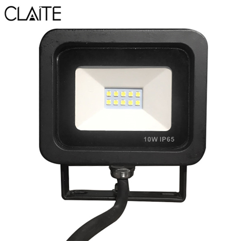 CLAITE Outdoor LED Floodlight 10W Waterproof IP65 Spotlight Outdoor Lighting Projector Reflector Wall Lamp AC220-240V