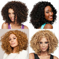 Fashion Brazilian Women Natural Curly Full Lace Wigs Medium Blonde Puffy Synthetic Hairpieces Afro-hair for Black