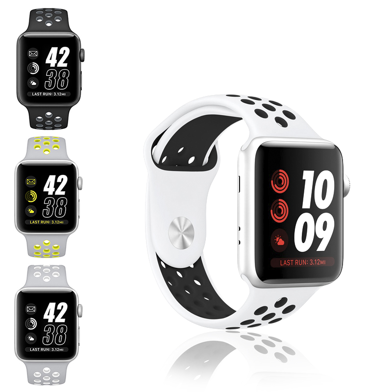 Silicon Sports Band Strap for NIKE + Apple Watch Black Volt Bracelet for Apple Watch Band Series 1&2 38mm 42mm Rubber Watchband nike nike fuelband sports bracelet battery cover green m