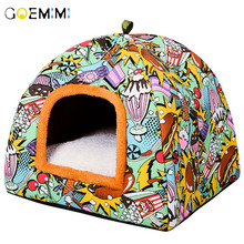Printed Dog Cat Cave Comfortable Warm Bed For Pet High Quality Puppy Sleeping House Cats 2019