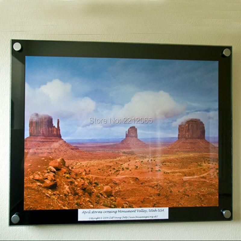 (Paquet/5 unités) cadre mural en acrylique avec bordure noire pour affiche, image, matériel de montage inclus YPD-002