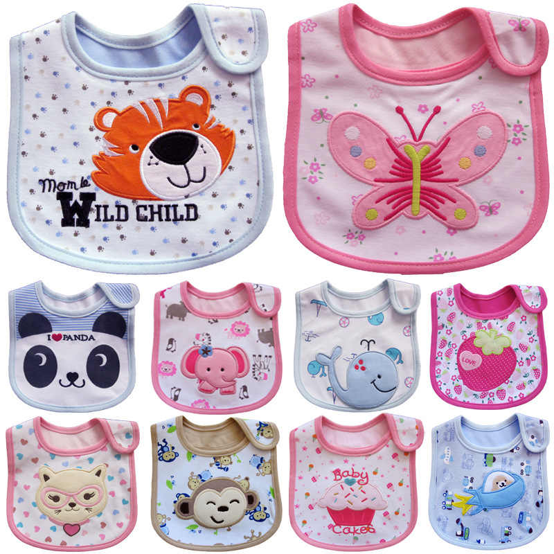 New Waterproof Baby Bibs Cotton Feeding Smock Cartoon Cute Pattern Boys Girls Burp Cloths Infant Slobber Saliva Towel 0-3 Years