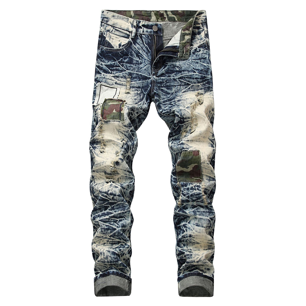 Sokotoo Men's Snow Washed Patchwork Holes Ripped Jeans Plus Big Size Vintage Patch Slim Straight Denim Long Pants