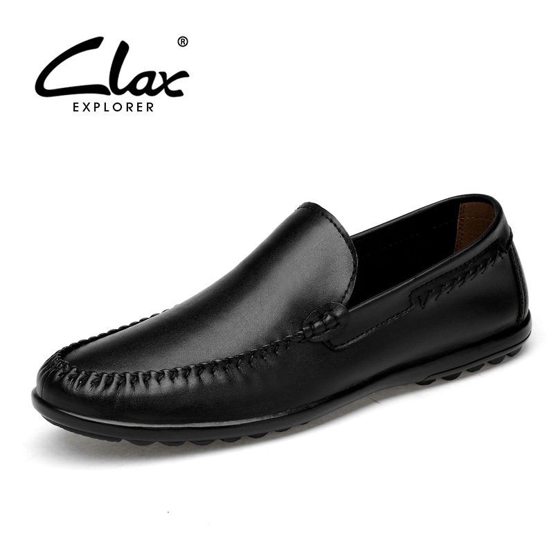 CLAX Men's Leather Shoes Slip ons 2018 Spring Summer Genuine Leather Casual Footwear Man Loafers White Boat Shoe Soft Moccasin clax men boat shoes genuine leather 2018 spring summer casual loafers man breathable flat moccasin retro leather shoe slip ons