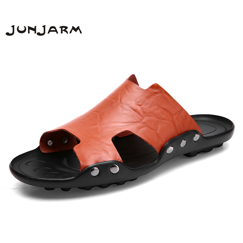 JUNJARM 2018 Brand Men Sandals Cool Slippers Summer Flip Flops Men Beach Shoes Leather Sandalias Zapatos hombre Big Size 38-47 цена