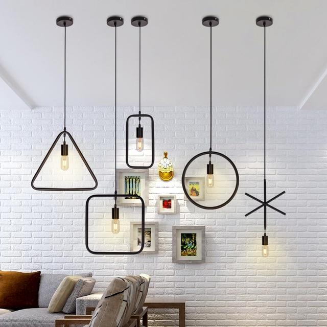 Vintage E27 Geometrical Figure Simple Hanging Light 1pc Creative Iron White/Black Finished Loft Pendant Lamps Droplight