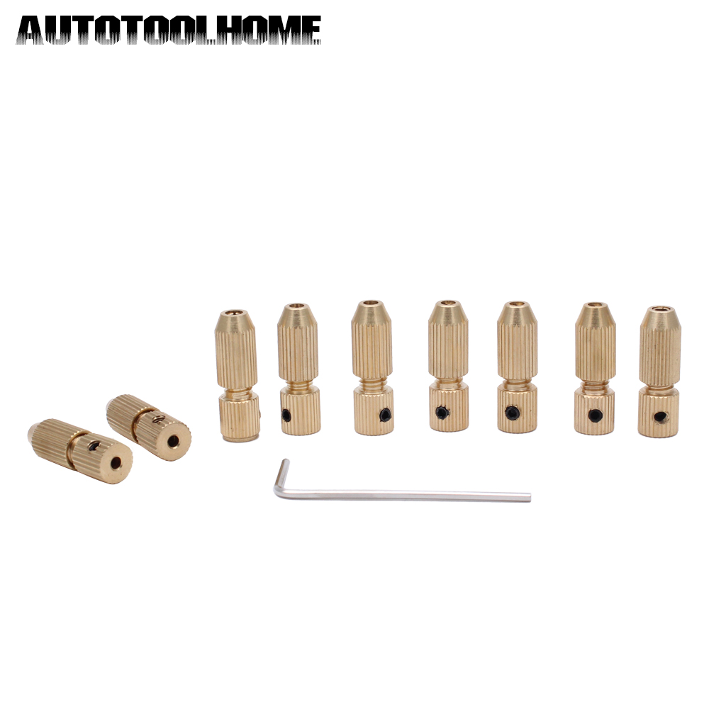 AUTOTOOLHOME 9pc/Set Mini Small Electric Motor Shaft Clamp Fixture Chuck Collet 2.3mm and 3.17mm Brass For 0.7mm-3.2mm Drill 2 3mm mini drill chuck adapter bit clamp socket set micro collet chuck power tools mini brass electric motor for woodworking