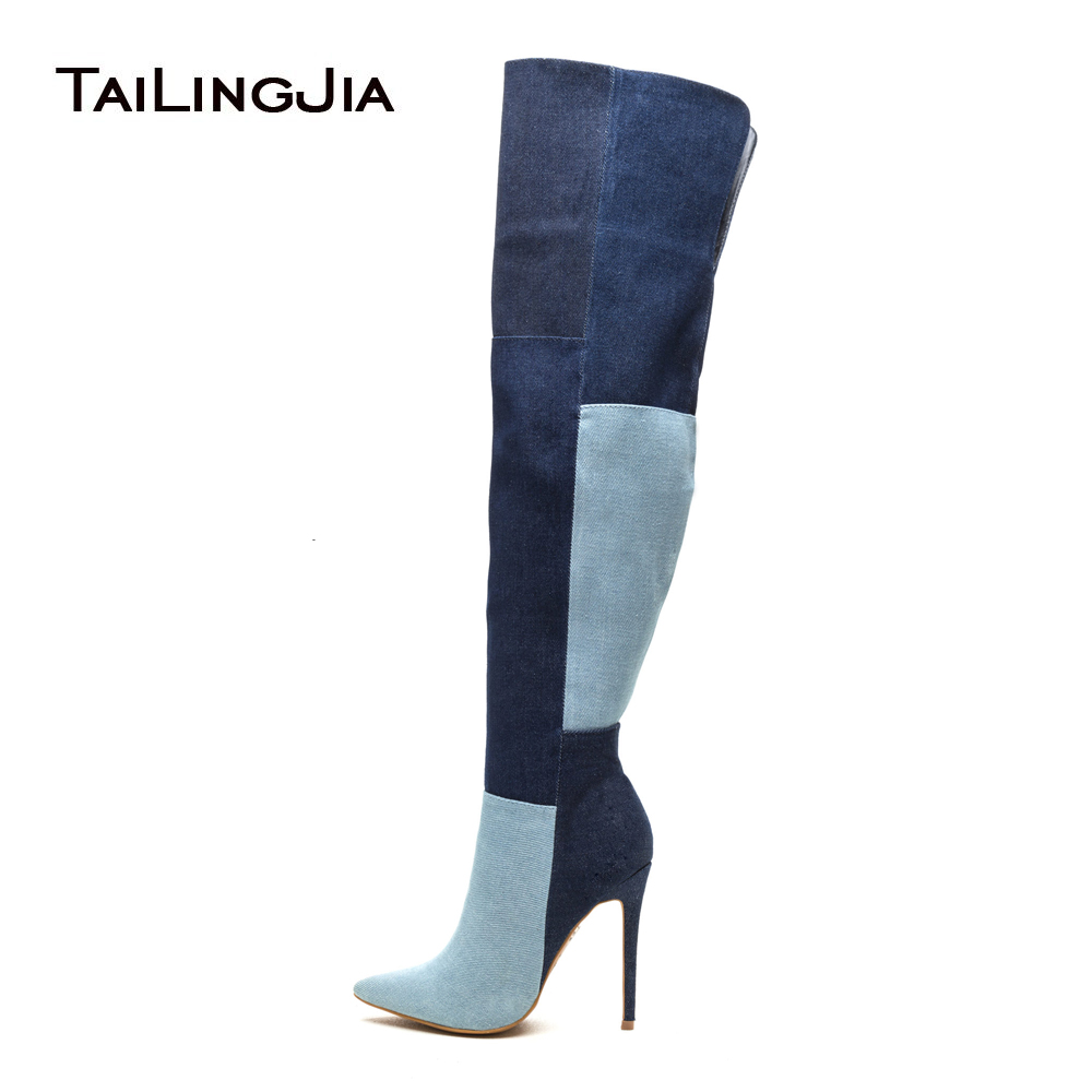 купить Women Pointy Toe High Heel Over The Knee High Denim Boots Blue Patchwork Thigh High Boots Zipper Long Boots Large Size 13 онлайн