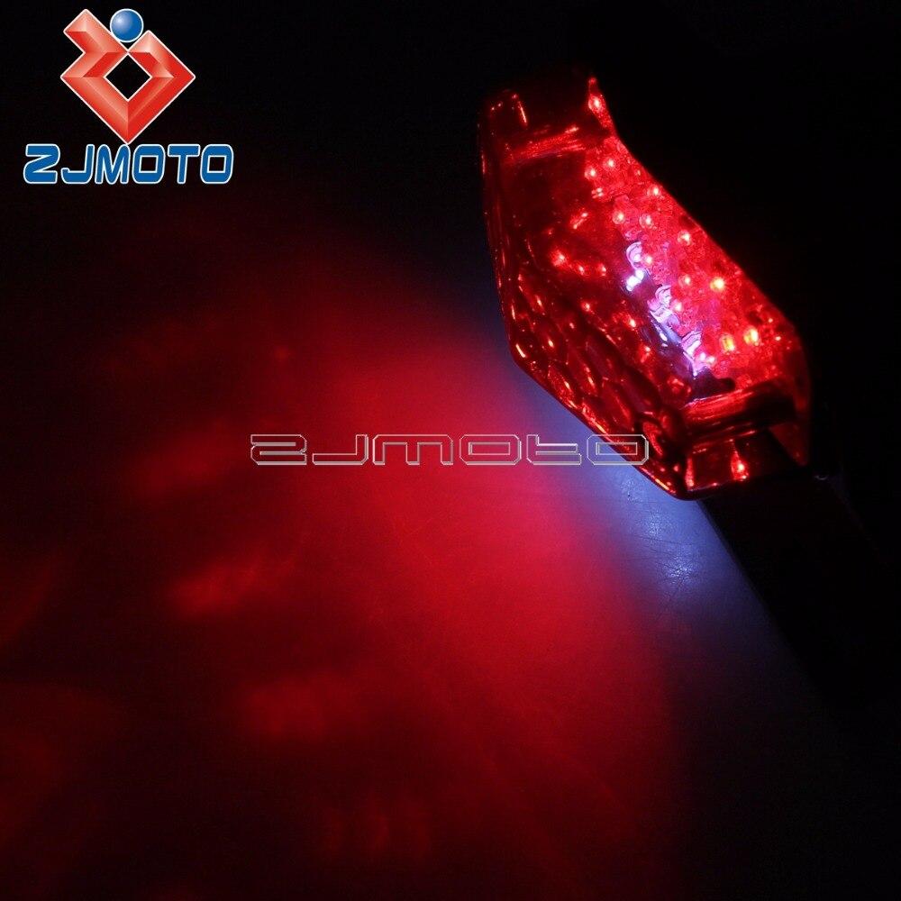 retro retro LED per motocicletta Indicatore luminoso stop posteriore Lampada targa freno Lente fum/é Fanale posteriore per moto Suuonee
