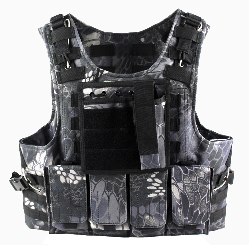 Tactical Molle Plate Carrier Amphibious Vest & 4 Magazine Pouch & Map pouch with Medical Pouch