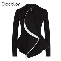 Clocolor Women Jacket Ruffled Slim Peplum Plain Coat Zipper Black Solid Tops 2017 Elegant Outwears Fashion