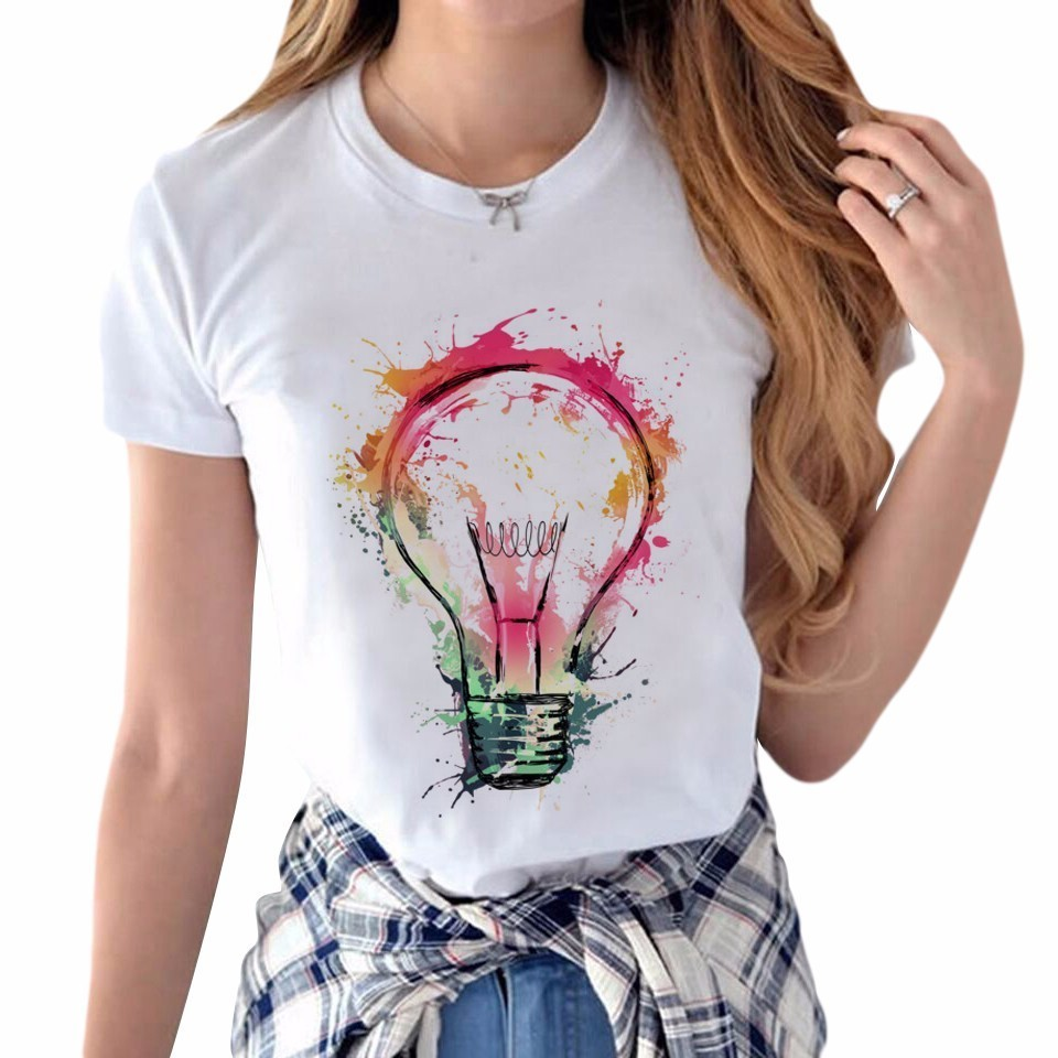 New Arrival T Shirt Women Creative Light Bulb Design Ladies T-shirts Street Style Watercolor T-Shirt Short Sleeve Tops Girl Tee