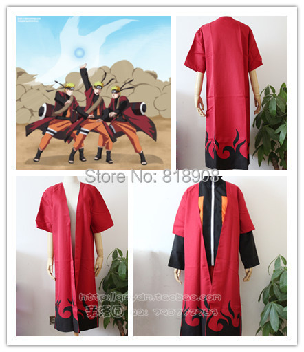 Japan Anime Naruto Yondaime Hokage Cloak Red Dust coat  Cosplay Costume Adult Halloween party clothes