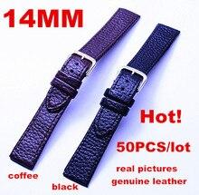 Bracelet de montre en cuir véritable, 50 pièces/lot, haute qualité, 14MM 100%, bracelets de montre 020802